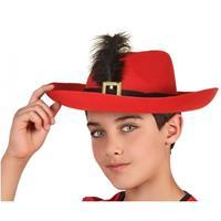Fiesta carnavales Rode musketier verkleed hoed voor kinderen