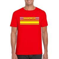 Shoppartners Brandweer logo t-shirt rood voor heren