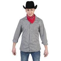Zwart/wit geruit cowboy verkleed overhemd voor heren