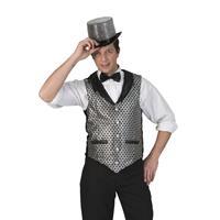 Toppers - Zilver/zwart verkleed gilet voor heren