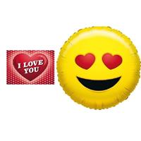 Valentijn - Folie ballon verliefde smiley 35 cm met valentijnskaart Geel