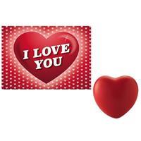 Valentijn - Valentijnsdag cadeau hartvormige stressbal met valentijnskaart Rood