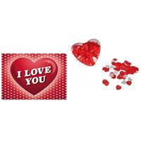 Valentijn - Valentijnsdag cadeau hartjes bad confetti met valentijnskaart Multi