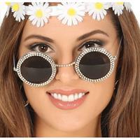 Hippie/flower power verkleed zonnebril met ronde glazen Zilver