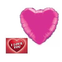 Valentijn - Valentijnsdag cadeau folie ballon hart 52 cm met valentijnskaart Fuchsia