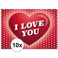 Shoppartners Valentijn - 10x Romantische Valentijnskaart I Love You met hartjes Roze