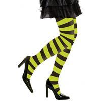 Heksen verkleedaccessoires panty zwart/groen voor dames