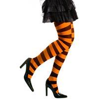 Heksen verkleedaccessoires panty zwart/oranje voor dames