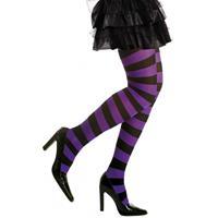Heksen verkleedaccessoires panty zwart/paars voor dames