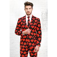 Opposuits King Of Hearts - Zwart pak met rode harten