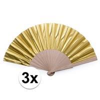 Toppers - 3x Gouden Spaanse handwaaiers cm Goudkleurig