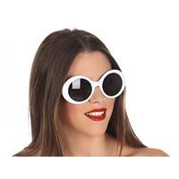 Fiesta carnavales Witte ronde verkleed zonnebril Wit
