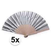 5x Zilveren Spaanse handwaaiers cm Goudkleurig