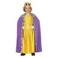 Koning mantel paars met geel verkleedkostuum voor kinderen