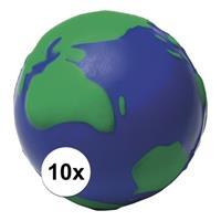 10x Anti-stressballen wereldbol 6,5 cm Multi