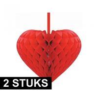 2x Rode decoratie hartjes versiering 15 cm Rood