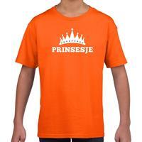 Shoppartners Oranje Prinsesje met kroon t-shirt meisjes (146-152) Oranje