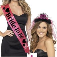 Set roze Bride to Be vrijgezellenfeest sjerp en tiara Multi