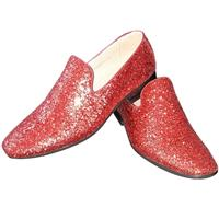 Toppers - Rode glitter pailletten disco loafers/instap schoenen voor heren