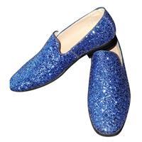 Toppers - Blauwe glitter pailletten disco instap schoenen voor heren