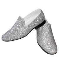 Toppers - Zilveren glitter pailletten disco instap schoenen voor heren