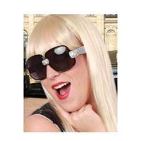 Toppers - Zwarte zonnebril/feestbril met zilveren glitters voor dames