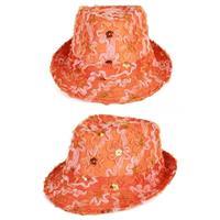 Oranje trilby verkleed hoedje dames met ruches en pailletten Oranje