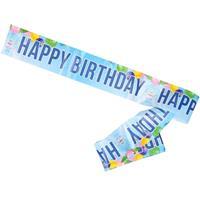 Verjaardag afzetlint/slinger blauw Happy Birthday 10 meter Blauw