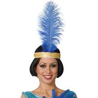 Toppers - Charleston/jaren 20 hoofdband met blauwe pauwenveer voor dames