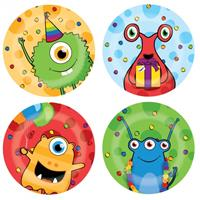 Haza Original bordjes monster party 8 stuks 23 cm