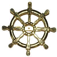 Gouden matroos/zeeman verkleed broche scheepsroer 7 cm Goudkleurig