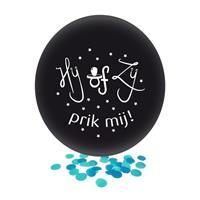 Confetti ballon gender reveal jongen party/feest zwart 60 cm Zwart