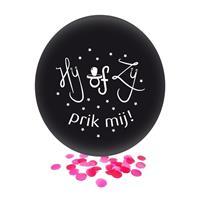 Confetti ballon gender reveal meisje party/feest zwart 60 cm Zwart