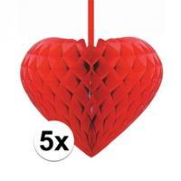 5x Rode decoratie hartjes versiering 15 cm Rood