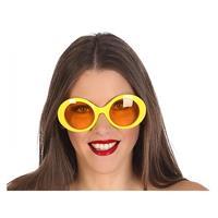 Fiesta carnavales Gele ronde verkleed zonnebril Geel
