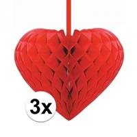 3x Rode decoratie hartjes versiering 15 cm Rood