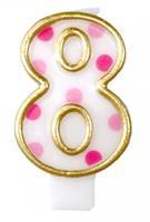 Haza Original verjaardagskaars cijfer 8 goud/roze 6 cm
