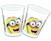 8 plastic Minions Balloon Party bekers