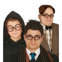 Ronde zwarte nerd verkleed bril zonder glazen Zwart