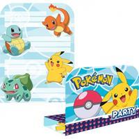 Pokémon 8 Einladungssets Pokemon incl. Umschläge