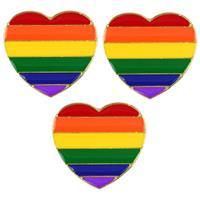 3x Regenboog pride hart metalen pin/broche 3 cm Multi
