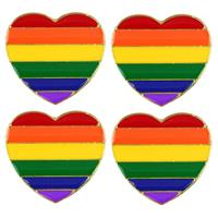 4x Regenboog pride hart metalen pin/broche 3 cm Multi