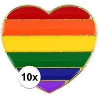 10x Regenboog pride hart metalen pin/broche 3 cm Multi
