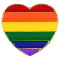 Regenboog pride hart metalen pin/broche 3 cm Multi