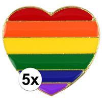 5x Regenboog pride hart metalen pin/broche 3 cm Multi