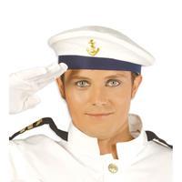 Marine baret met gouden scheepsanker Wit
