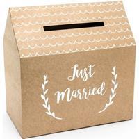 Bruiloft/huwelijk enveloppendoos kraftpapier huisje 30 cm Bruin