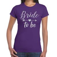Bride to be Cupido zilver glitter t-shirt paars dames Paars