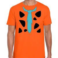Shoppartners Fred holbewoner kostuum t-shirt oranje voor heren