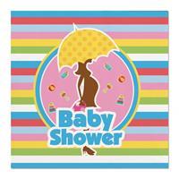 Folat 60x Babyshower feest servetten gekleurd 25 x 25 cm papier Multi